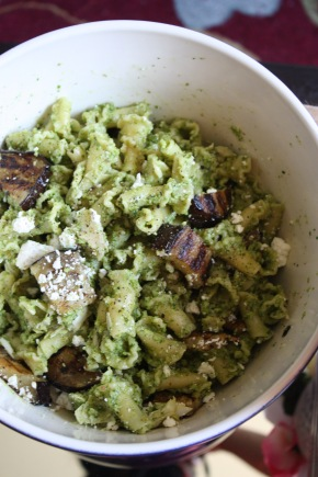 grilled eggplant and almond kale pesto pasta salad